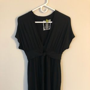 Anthropologie Black Pinkerton V-Neck Tie Dress